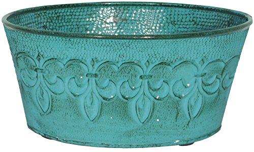 Robert Allen MPT01893 Fluer De Lis Series Metal Bowl Planter Flower Pot, 8