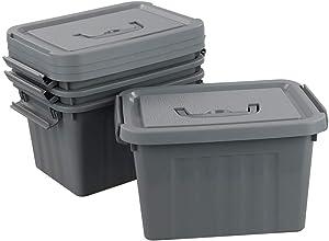 Ggbin 6 Quart Latch Storage Box, Grey Plastic Bin with Lid, 4 Packs