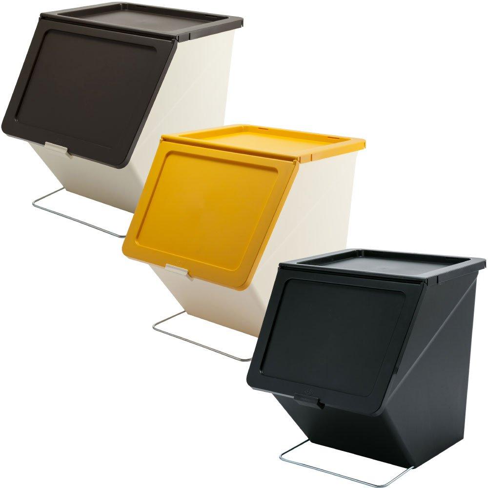 スタックストー ペリカン ガービー 38L 全6色の中から選べる3個セット ゴミ箱 ごみ箱 ダストボックス おしゃれ ふた付き stacksto pelican (ブラウン×イエロー×ブラック) B0759FF1SJ ブラウン×イエロー×ブラック ブラウン×イエロー×ブラック