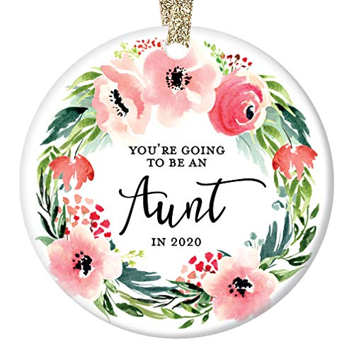 You're Going to Be An Aunt in 2020 Christmas Ornament Pregnancy Reveal Announcement New Baby Niece Nephew Sister In Law Pretty Floral Ceramic Keepsake 3