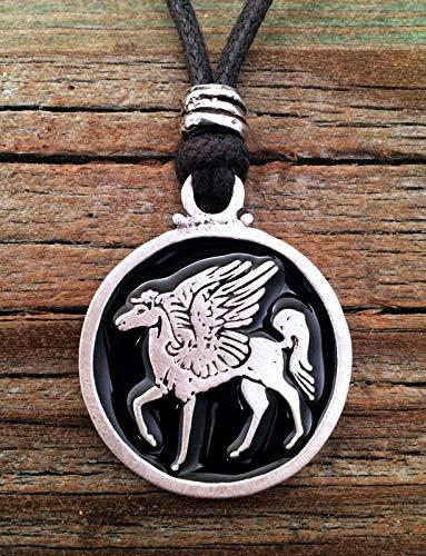 Pegasus Winged Horse Pendant Fine Pewter Black Color