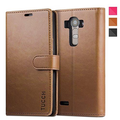 LG G4 Hülle, TUCCH Schutzhülle LG G4 Tasche Leder Case mit Kartenfach Aufstellfunktion Magnetverschluss, Braun (Nicht für LG G4c/G4 stylus/G4s/LG Spirit)