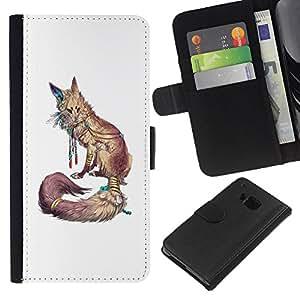KLONGSHOP // Tirón de la caja Cartera de cuero con ranuras para tarjetas - Blanco Naturaleza Animal Rojo minimalista - HTC One M9 //