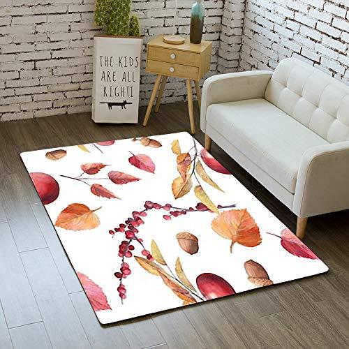 iBathRugs Door Mat Indoor Area Rugs Living Room Carpets Home Decor Rug Bedroom Floor Mats,Watercolor Fall Seamless Pattern Hand