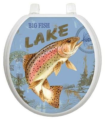 Toilet Tattoos, Toilet Seat Cover Decal, Lake Fishing, Size Round/standard