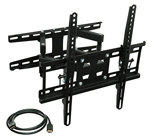 Mount-It! Articulating TV Wall Mount Corner Bracket, VESA 400 x 400 Compatible, Stable Dual Arm Full Motion, Swivel, Tilt Fits 32, 37, 40, 42, 47, 50 Inch TVs, 115 Lbs Capacity With HDMI Cable Black (Tv Mount And Bracket compare prices)