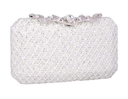 Womens Pink Silver Sparkling Shimmer Glitter Crossbody Bag Adoptfade Clutch Evening Prom Wedding p6xvWFd1F