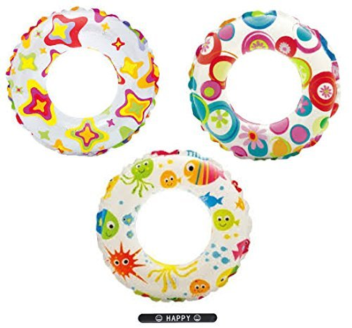INTEX Print Colorful Fun Pool Toys Inflatable Swim Ring Tube Toy Ideal Gifts for Kids Boys Girls SET OF 3 RINGS with HAPPY Slapstick