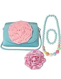 kilofly Little Girl Shoulder Bag + Big Rose Hair Clip + Necklace + Bracelet Set