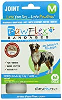 PawFlex Bandages Joint 4 Bandages with 1 Cover Strip for Pets, Medium, White