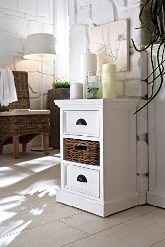 Bedside Unit (NovaSolo Halifax Bedside Storage Unit with Basket, Small, White)