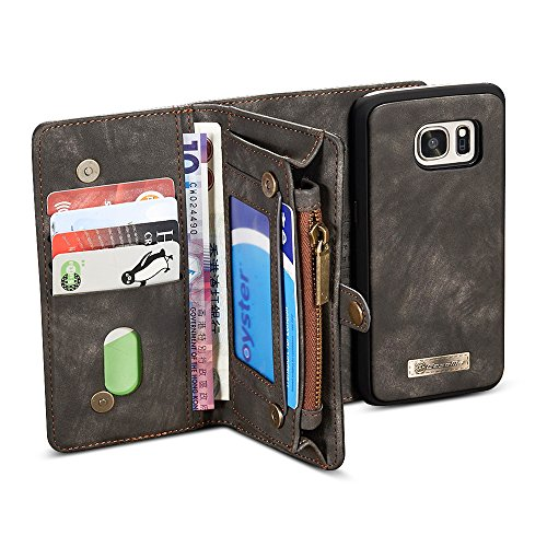 Galaxy Note 7 Detachable Wallet Case, BELK [Traveller] Functional Storage with 11 Card Slots & Magnetic Removable Slim Pocket PC Cover for Samsung Galaxy Note 7, Retro Black