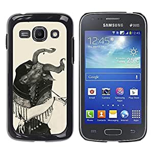 For Samsung Galaxy Ace 3 - Black And White Drawing Woman Bull Head /Modelo de la piel protectora de la cubierta del caso/ - Super Marley Shop -