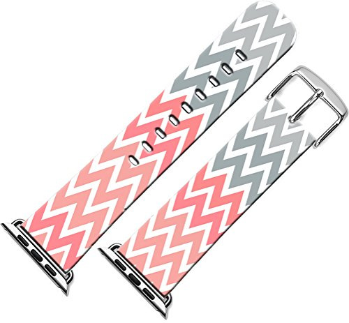 Bands Compatible with Iwatch 40mm/38mm & Cisland Leather Strap Compatible with Apple Watch Series 1/2/3/4 Sport & Edition Colorful Creative Cute Personalized Colorful Striped Pattern Design
