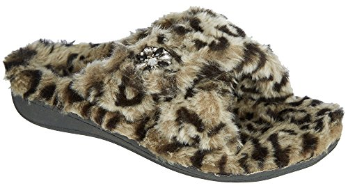 Orthaheel Vionic With Orthaheel Technology Women's Relax Luxe Slipper Grey Leopard Slipper 11 M