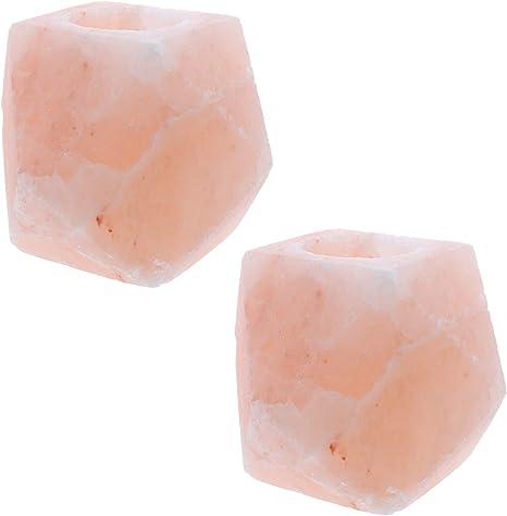 2 Tea Light Candle Holders Pink Himalayan Rock Salt Air Purifiers Diamond Shape