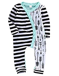 Infant Baby Girl Boy Long Sleeve Stripe Romper Bodysuit Jumpsuit Outfits Clothes