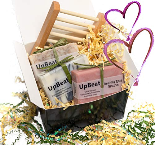 (Olive Oil Soap- Unique Mothers Day Gifts - 4pc Handmade Natural Gift Set-Coffee Exfoliating Soap,Cleansing Charcoal Soap,Rose Oil Moisturizing Soap & Wood Soap Dish.Great Birthday Gifts for Women,Men)