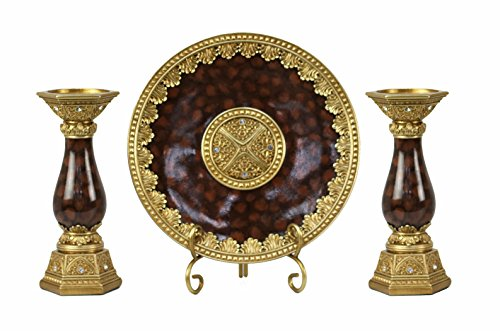 D'Lusso Designs Home Decor Accent Paoletta Collection 4 Piece Set - Charger Plate, Stand and 2 Candlesticks ()
