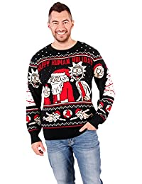 Ripple Junction Rick and Morty Happy Human Holiday Adult Knit Sweater