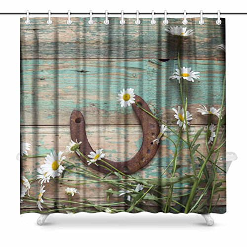 InterestPrint Rusty Horseshoe and Daisies on Rustic Old Barn Wood House Decor Shower Curtain for Bathroom, Decorative Fabric Bath Curtain Set with Rings, 72 x 72 Inches