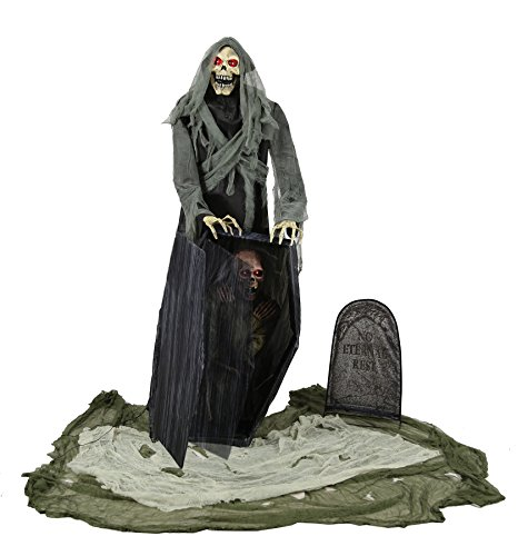 UHC Scary Haunted House Graveyard Reaper Decoration Animated Halloween Prop for $<!--$216.95-->