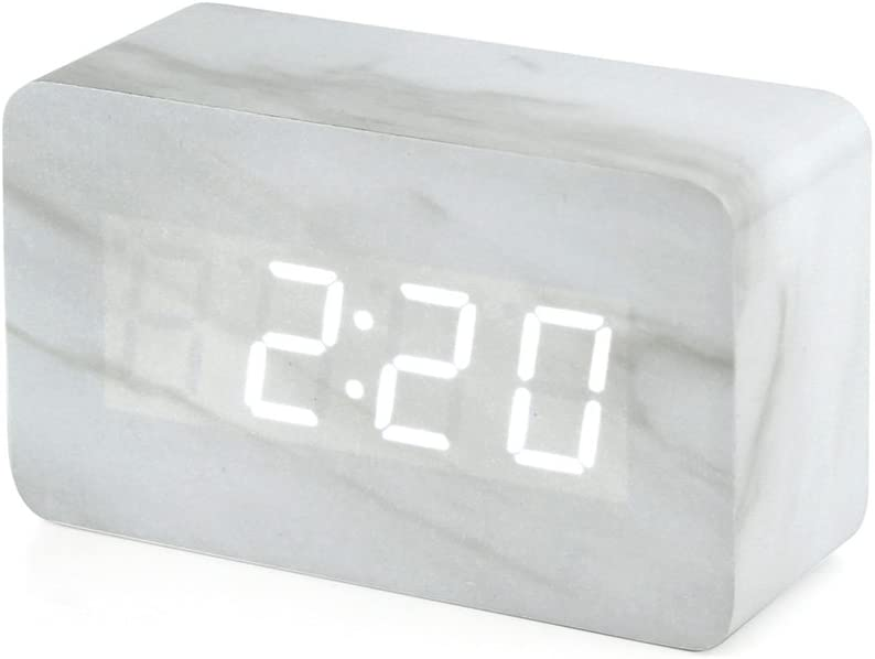 Oct17 Marble Pattern Alarm Clock, Fashion Multi-Function LED Alarm Clocks Stone Cube with USB Power Supply, Voice Control, Timer, Thermometer - White