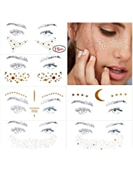 15 pcs (11 different styles) Face Tattoo Sticker, Freckle Sticker, Face Metallic Temporary Tattoo Water Transfer Tattoo for Professional Make up Dancer Costume Parties