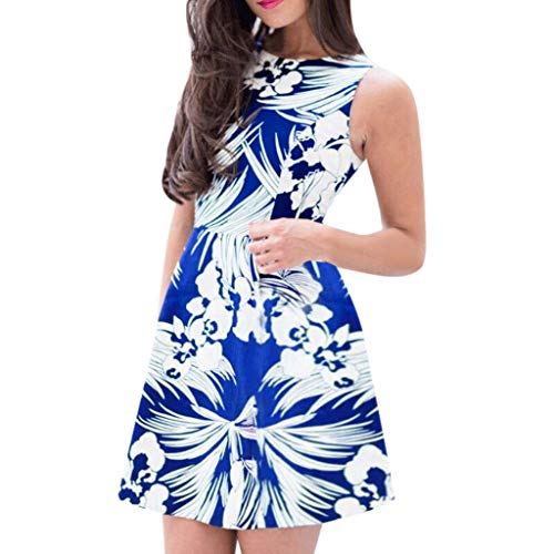 WENSY Fashion Women's Summer Floral Sleeveless Print Waist Backless Mini Dress Retro Large Size Evening Dress(Blue,S)