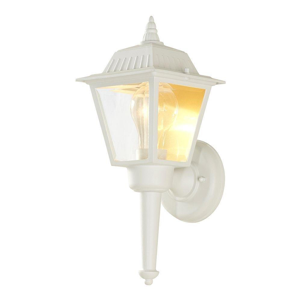 Hampton Bay HW 5004 Bay 1-Light White Outdoor Wall Lantern