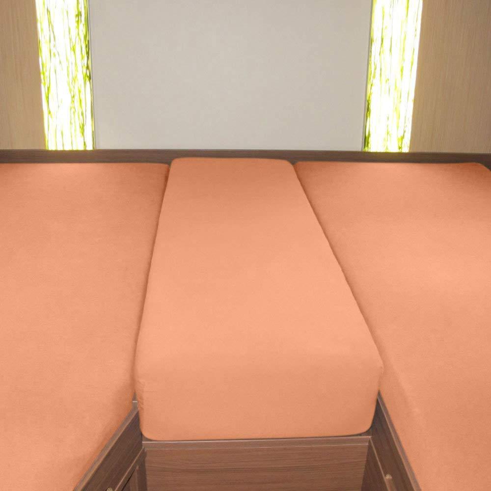 Mittelteil 2 L/ängsbetten G BETTWARENSHOP Wohnmobil Wohnwagen Heckbett Spannbetttuch-Set 3-teilig rot