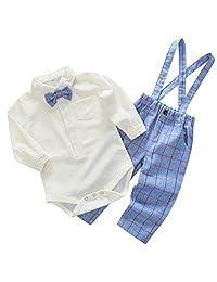 Infant Boy Gentle 2pcs Jumpsuit Long Sleeve Rompers Lattice Suspender Pants with Bowtie Shirt Formal Wear Light Blue for 12-18 Months
