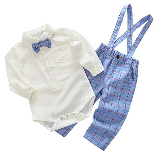 Toddler Boy Plaid Bowtie Formal Wear Suit Wedding Rompers Outfit Long Sleeve Jumpsuit 2pcs, Light Blue for 6-9 (Baby Boy Light Blue Romper)