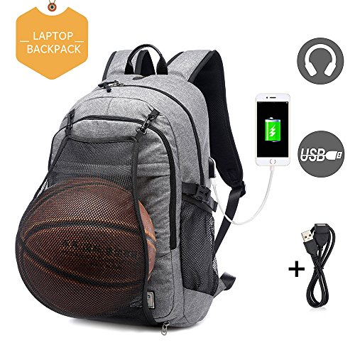 Basketball Laptop Backpack for Boy Travel Business College School Computer Bag with USB Charging Port,Water Resistant for Women & Men Fits 15.6 inch