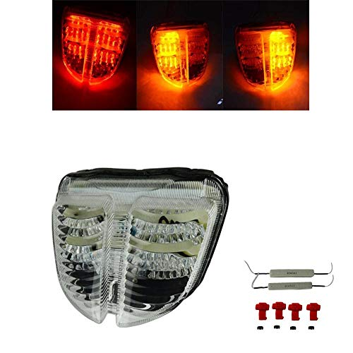 Motorcycle Rear Taillight Tail Brake Turn Signals Integrated LED Light Smoke For Suzuki GSXR600 GSXR750 GSXR GSX-R 600 750 K6 2006-2007 GSXR600 750 06 07 (Clear)
