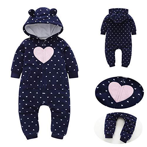 Kehen Baby Boys Girls Red Black Grid Fleece Rompers Jumpsuit Hooded Pocket Bobysuit Pajamas Clothes (Dark Blue, 3-6 ()
