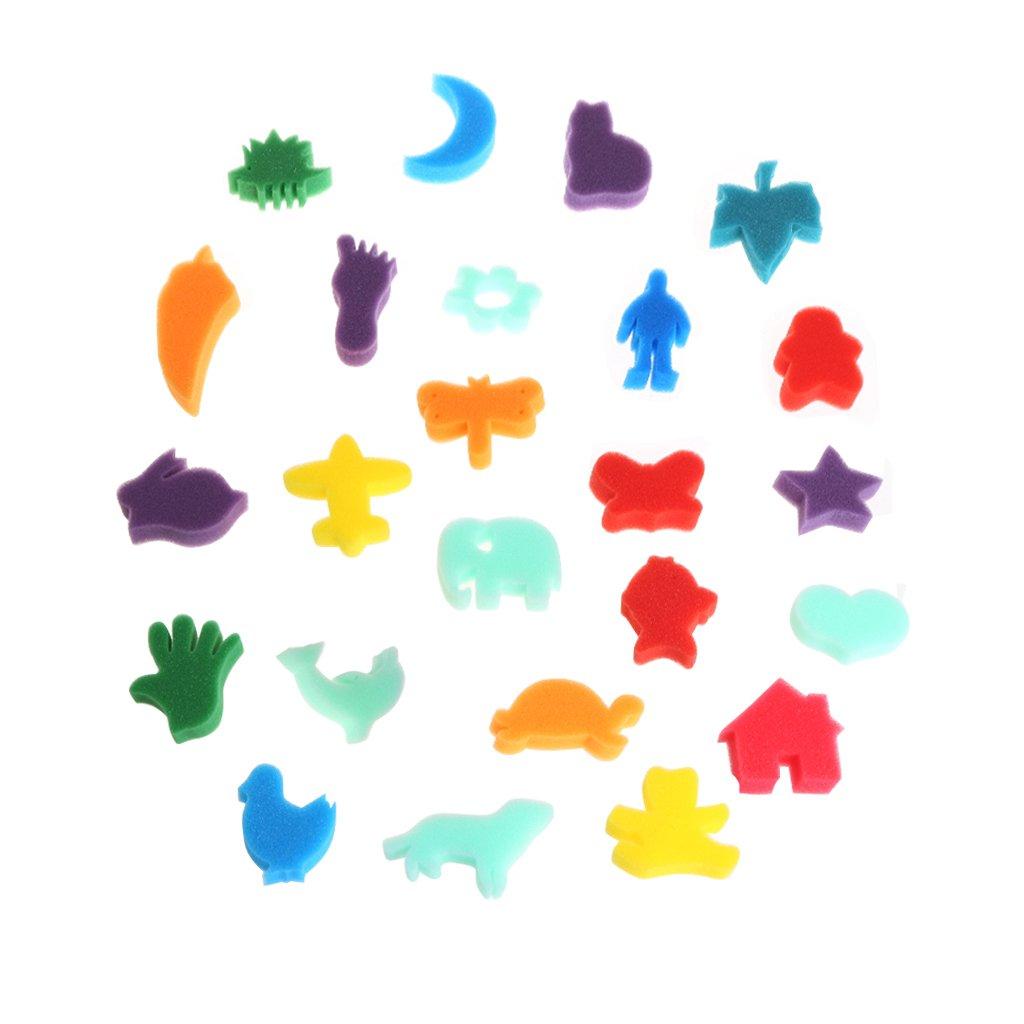 YingNeng 24Pcs/Set Art Sponges for Painting, Crafts, Ceramics, DIY Toy for Children Kids School