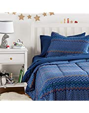 AmazonBasics Easy-Wash Microfiber Kid's Bed-in-a-Bag Bedding Set - Twin, Navy Zigzags