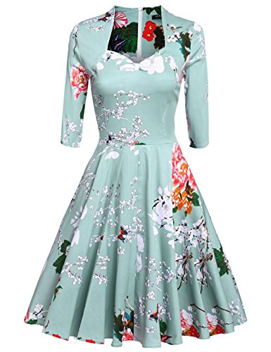 ACEVOG-Vintage-1950s-Floral-34-Sleeve-Garden-Party-Picnic-Dress-Cocktail-Dress