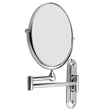 8 Inch Wall Mounted Shaving Mirror Extending Folding Double Side Cosmetic Make Up 5xmagnification Bathroom Makeup