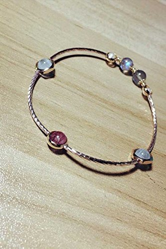 tal_ bracelet bangle women girls _to peach_strawberry_ bracelet bangle _crystal_sea_blue_Bora_long_Moonlight_Stone_K_GOLD_ hand Ring (Bora Crystal)