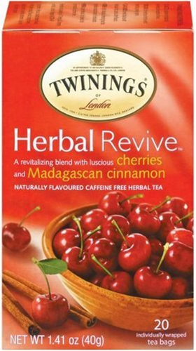 Twinings Revive Herbal Tea,Cherries and Madagascan Cinnamon Tea Bags, 1.41 Ounce Boxes (Pack of 6)
