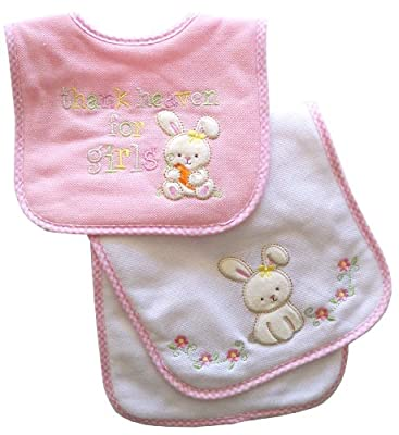 Neat Solutions Appliqued Thank Heaven for Girls Cotton Pique/ Knit Terry Bib and Burpcloth Set from Neat Solutions