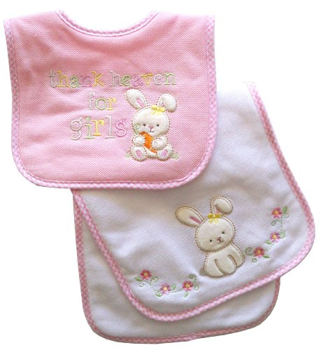 - Neat Solutions Appliqued Thank Heaven for Girls Cotton Pique/Knit Terry Bib and Burpcloth Set
