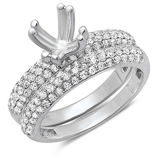 0.90 Carat (ctw) 14K White Gold Round Cut Diamond Ladies Bridal Semi Mount Engagement Ring With Matching Band Set (No Center Stone)