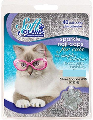 - Feline Soft Claw Nail Caps, Medium, Silver Sparkle