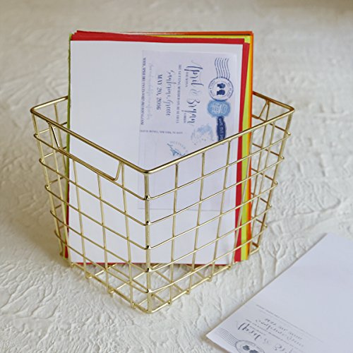 Square Copper Plated Metal Wire Storage Basket for Office Stationary Kitchen Bathroom Supplies.