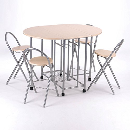 GreenForest Dining Table Sets & 4 Chairs Folding Rolling Wheels Butterfly Home Kitchen Furniture Sets, Beige