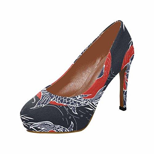 Modello Di Scarpe Pompe Di Piattaforma Di Tacco Alto Di Moda Del Womens Classico Interesse, Arte Giapponese Disegnata A Mano