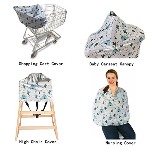 Nursing Cover for Breastfeeding,Carseat Canopy,High Chair, Shopping Cart & Stroller Cover,Bonus Infant Baby Beanie(Cactus) by Yaniss (Image #2)